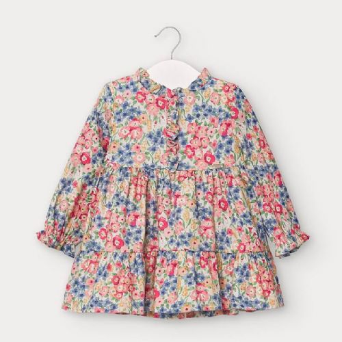 Floral Print Cotton Dress with Frill Collar and Cuff 6 Months